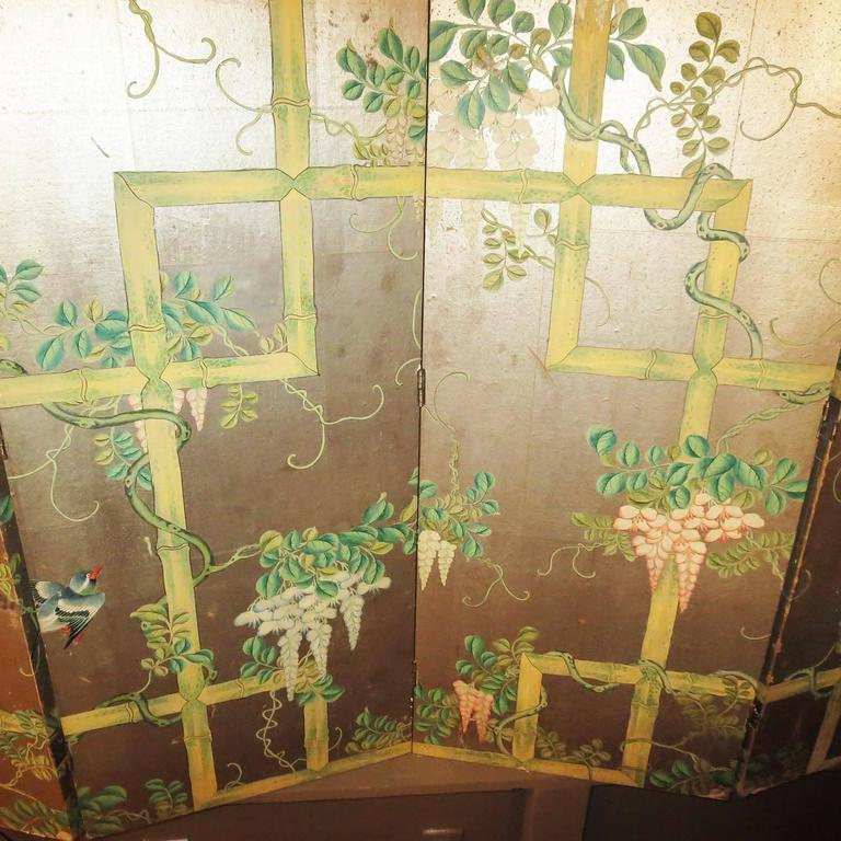 19th Century Four-Panel Painted Screen of Birds and Bamboo For Sale 2