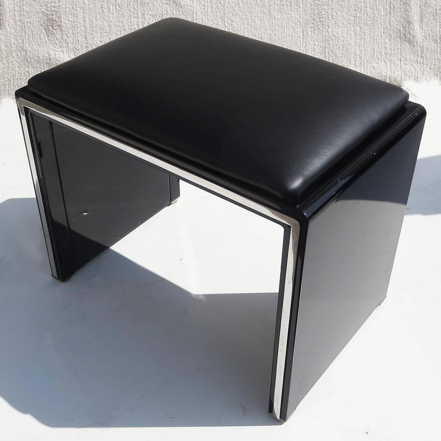 Norman bel geddes art deco vanity dressing table seat and for Vanity table and mirror for sale