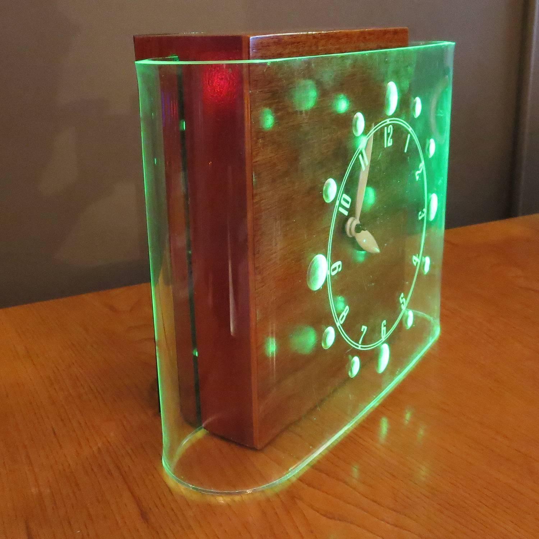 art deco curvaline neon desk clock by lackner at 1stdibs. Black Bedroom Furniture Sets. Home Design Ideas