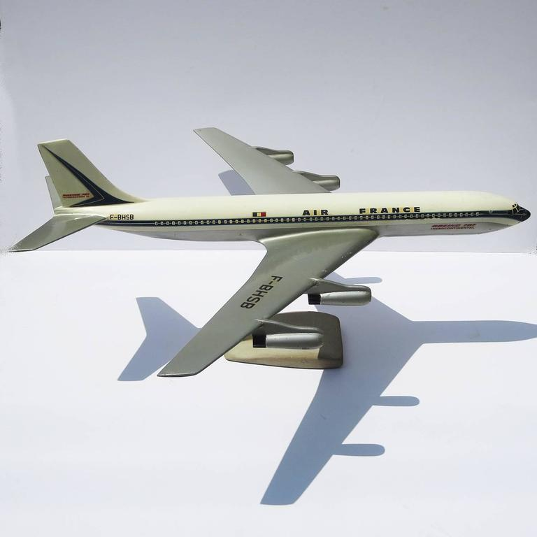 Air France Painted Metal Boeing 707 Desk Model 2