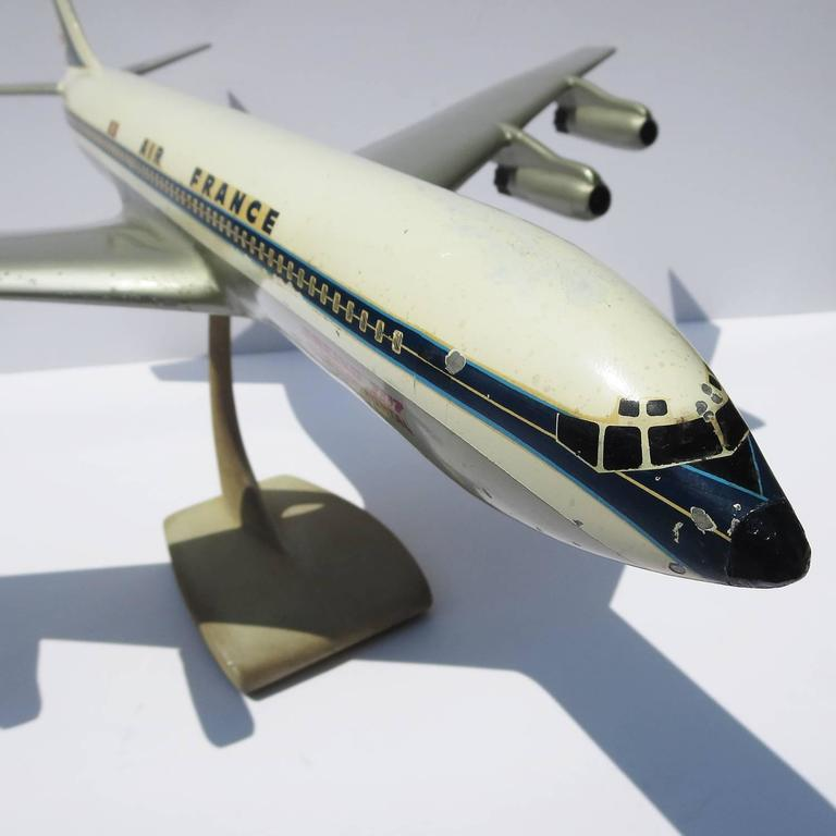 Air France Painted Metal Boeing 707 Desk Model 8