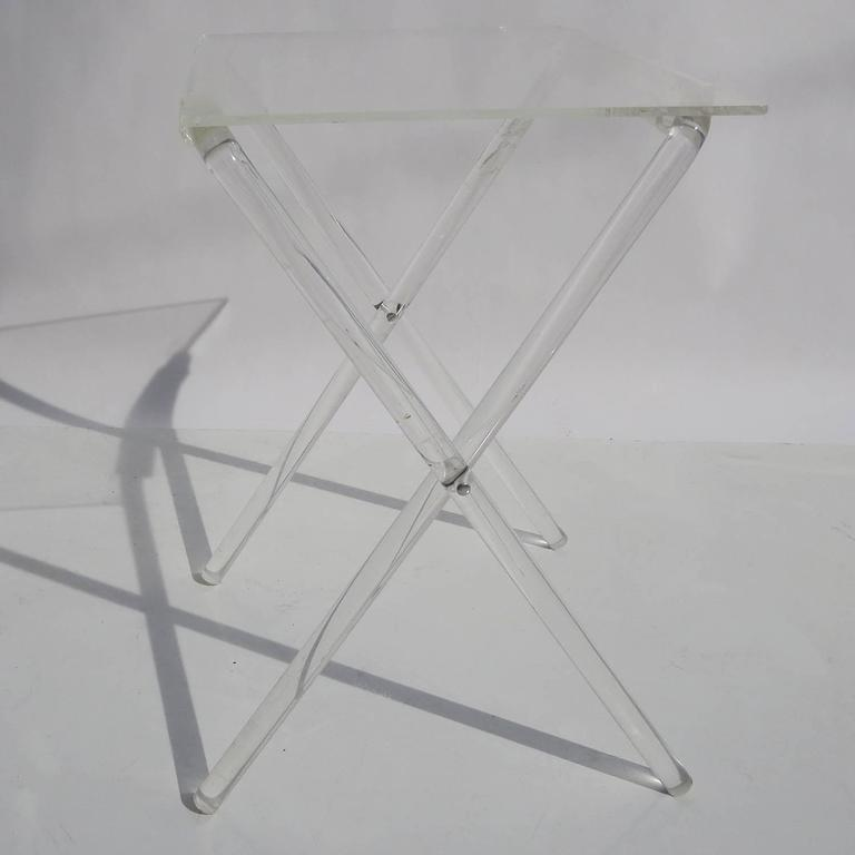 Lucite Folding Tray Tables Set Of Four At 1stdibs