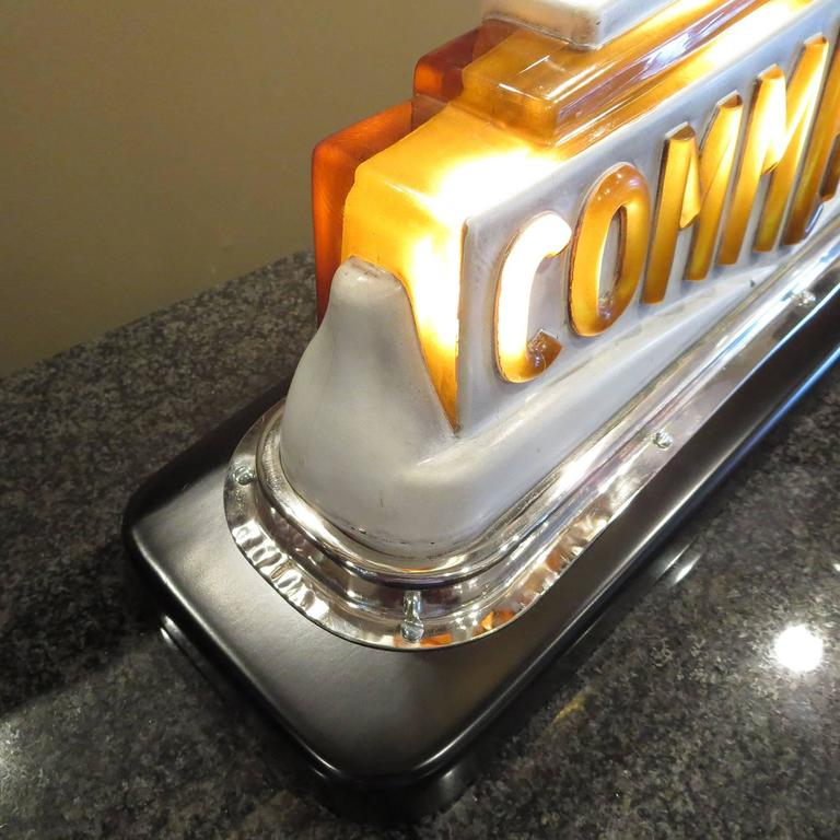 American Art Deco Taxi Cab Lighted Sign in Molded Glass For Sale