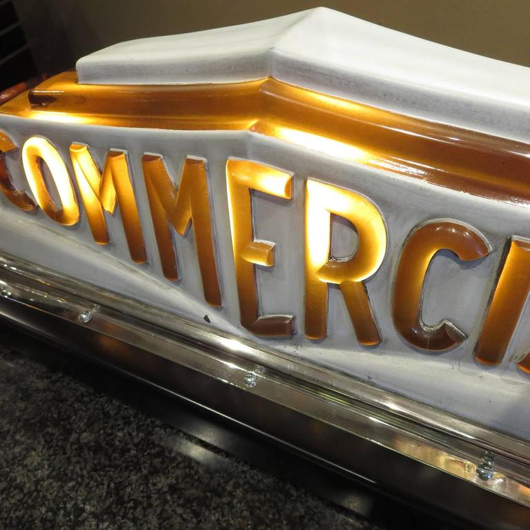 Lacquered Art Deco Taxi Cab Lighted Sign in Molded Glass For Sale