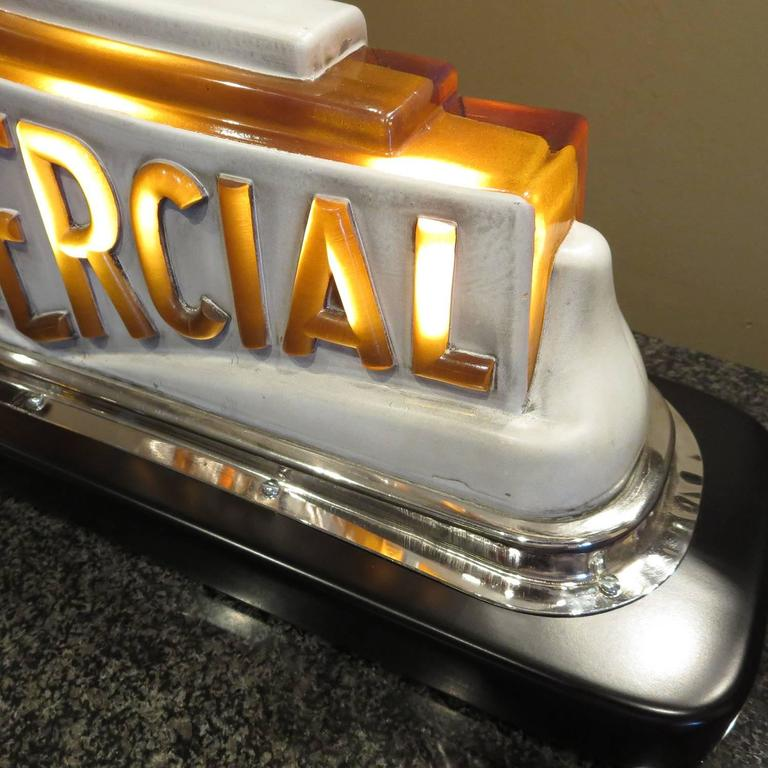 Art Deco Taxi Cab Lighted Sign in Molded Glass In Excellent Condition For Sale In Los Angeles, CA