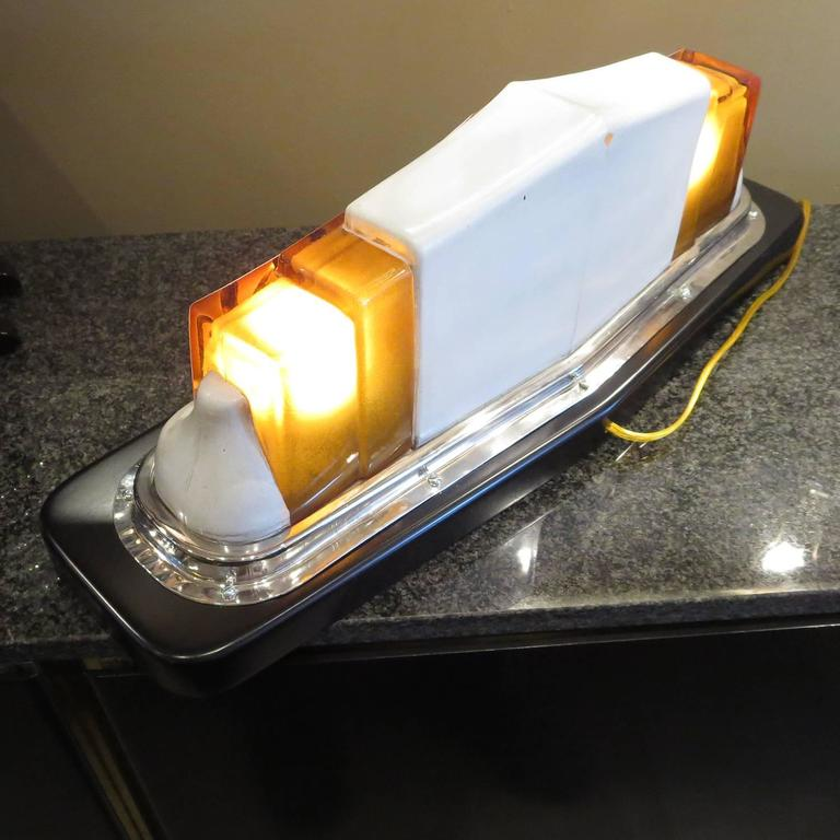 Mid-20th Century Art Deco Taxi Cab Lighted Sign in Molded Glass For Sale