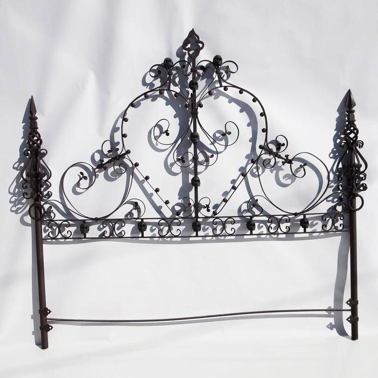 Custom Made Gothic Iron Bed With Bronze Skulls At 1stdibs