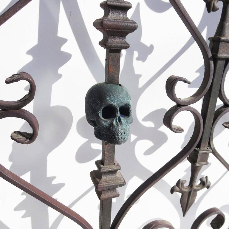 Custom made gothic iron bed with bronze skulls for sale at for Gothic style beds for sale