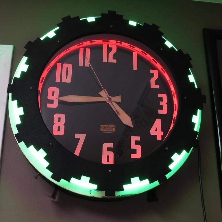 Wall Clocks With Neon Lights : Art Deco