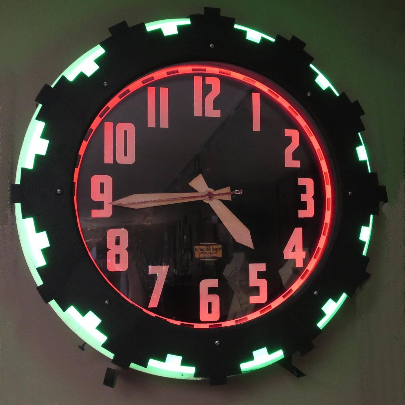 Art Deco Quot Aztec Quot Two Color Neon Wall Clock For Sale At 1stdibs