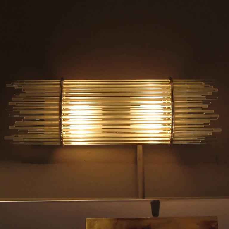 brass and glass rod mid century wall sconces by forecast for sale at