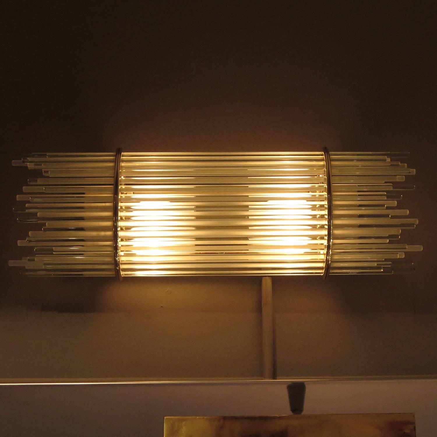 Brass and Glass Rod Mid-Century Wall Sconces by Forecast For Sale at 1stdibs
