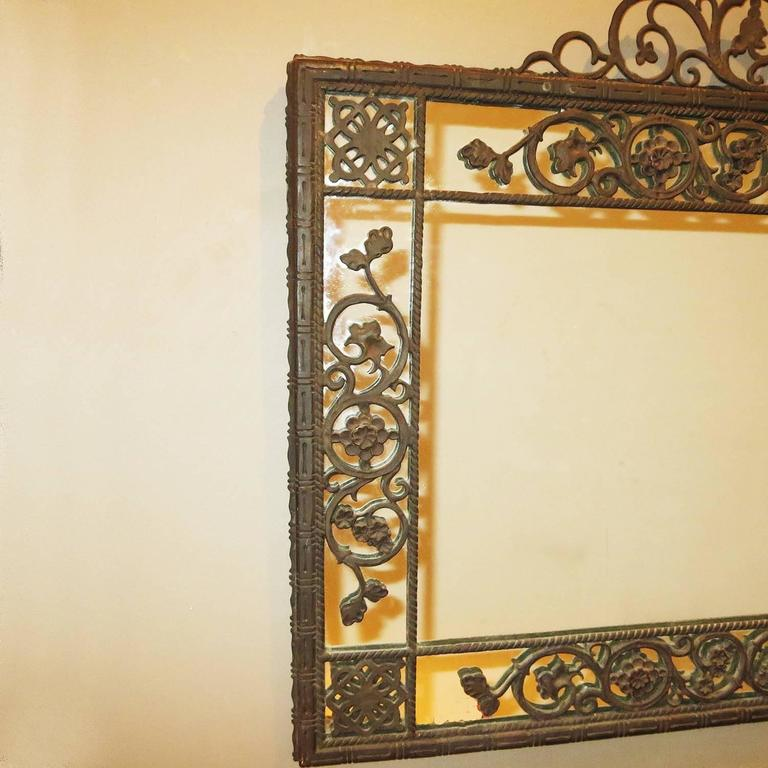 Oscar Bach 1920s Elaborate Bronze Wall Mirror 2