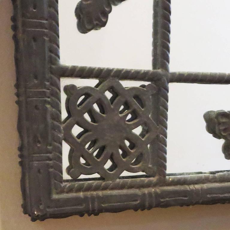 Oscar Bach 1920s Elaborate Bronze Wall Mirror 3