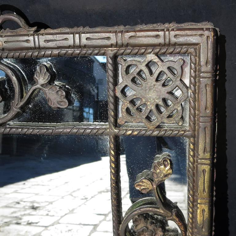 Oscar Bach 1920s Elaborate Bronze Wall Mirror 6