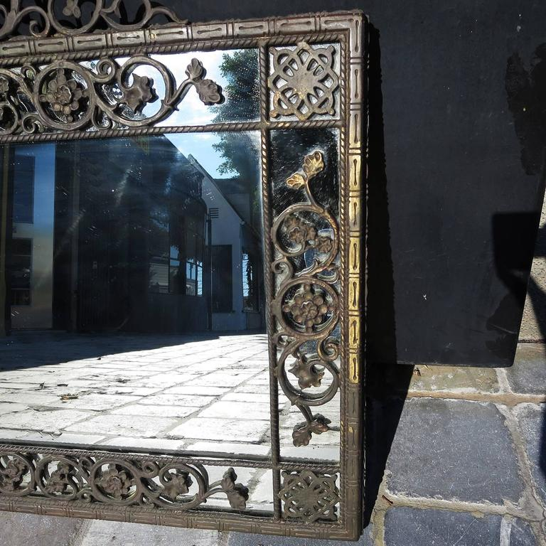 Oscar Bach 1920s Elaborate Bronze Wall Mirror 7