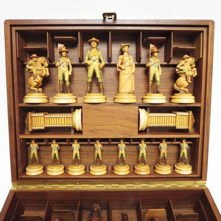"Anri Monsalvat ""Cavalry and Indians"" Carved Wooden Chess Set 3"