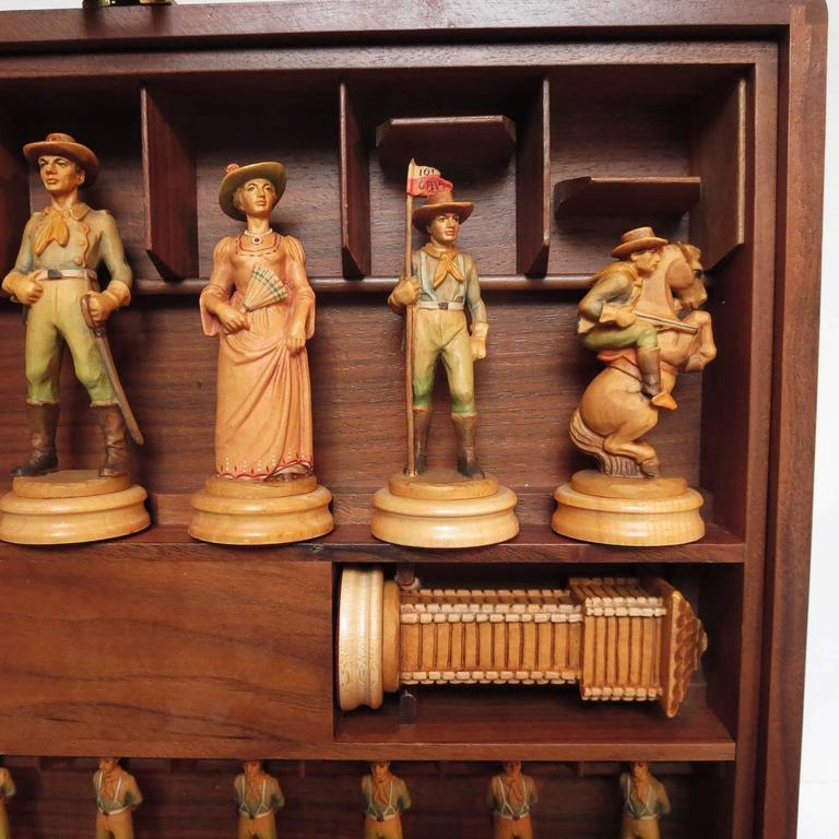 "Anri Monsalvat ""Cavalry and Indians"" Carved Wooden Chess Set 5"