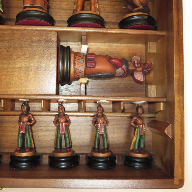 "Anri Monsalvat ""Cavalry and Indians"" Carved Wooden Chess Set 8"