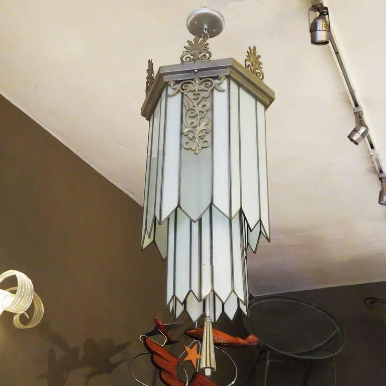 American Art Deco Stepped Theater Chandelier For Sale
