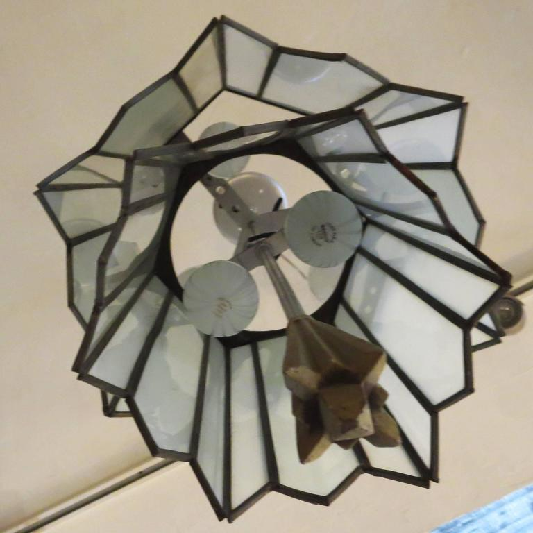 Metal Art Deco Stepped Theater Chandelier For Sale