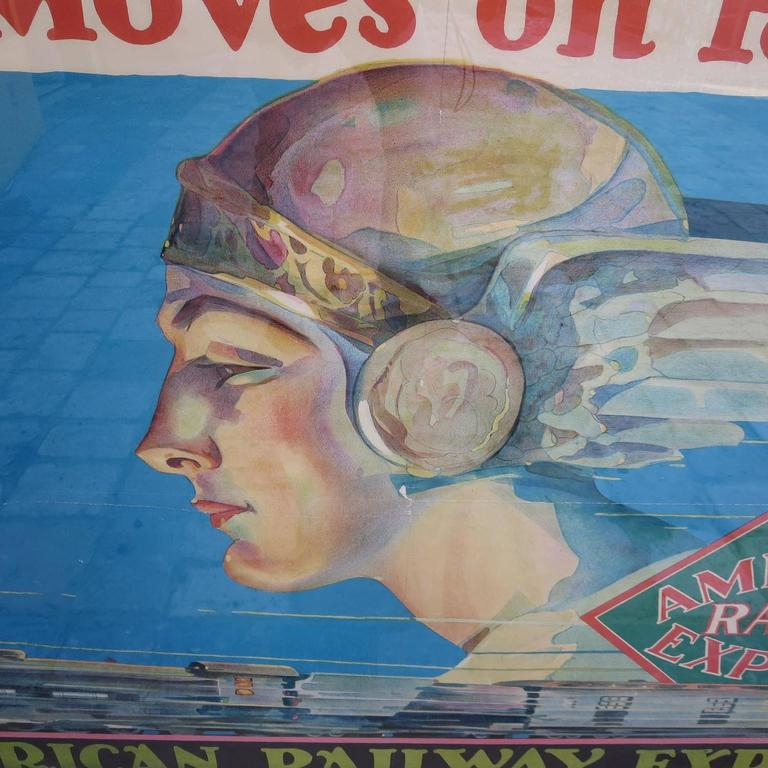 Framed American Railway Express Art Deco Train Travel Poster 3