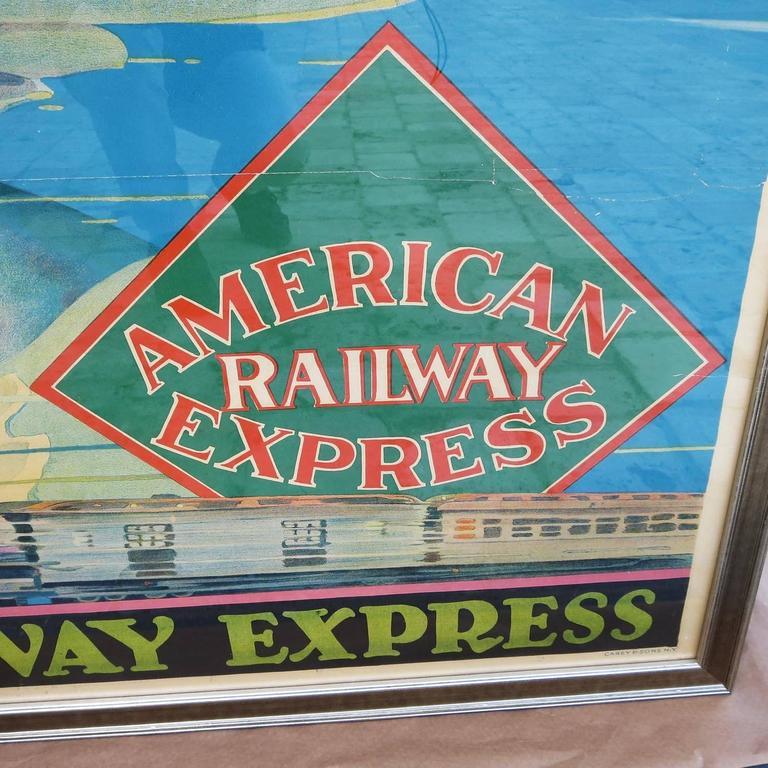 Framed American Railway Express Art Deco Train Travel Poster 4