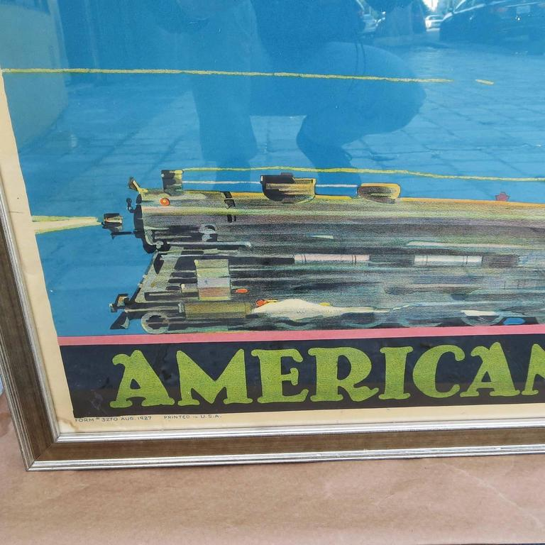 Framed American Railway Express Art Deco Train Travel Poster 5