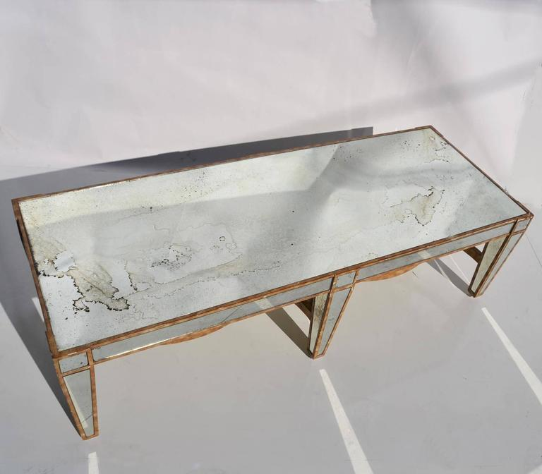 American Hollywood Regency Coffee Table in Antiqued Mirror For Sale