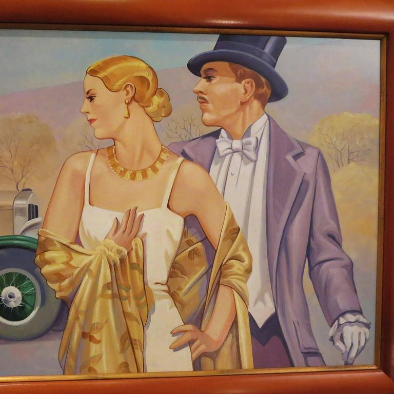 This great painting was commissioned as part of a series of Art Deco inspired transportation themed works. They were created for the executive offices of Bob's Big Boy restaurants in the 1970s. The work, executed in oil on board, is in the style of