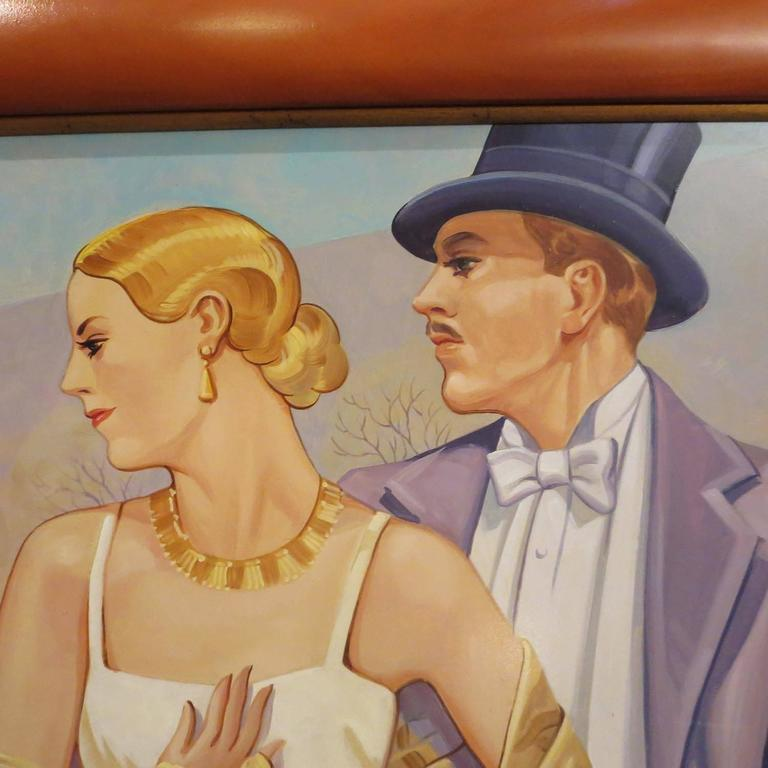 Art Deco Style Oil Painting in the Manner of JC Leyendecker In Excellent Condition For Sale In Los Angeles, CA