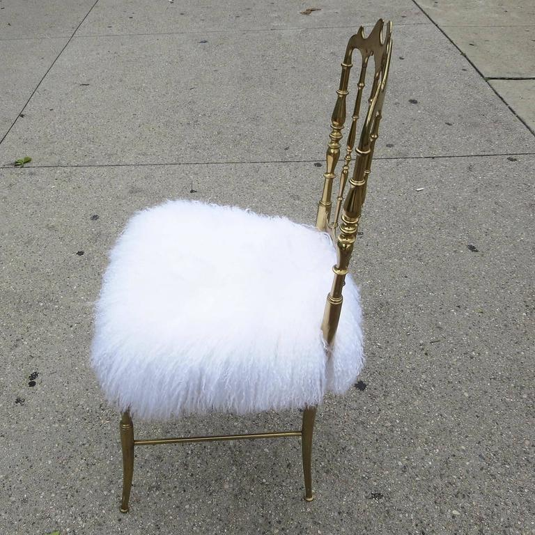 Chiavari Solid Brass Boudoir Chair in Silky Fur 2