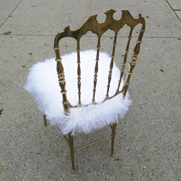Chiavari Solid Brass Boudoir Chair in Silky Fur 3