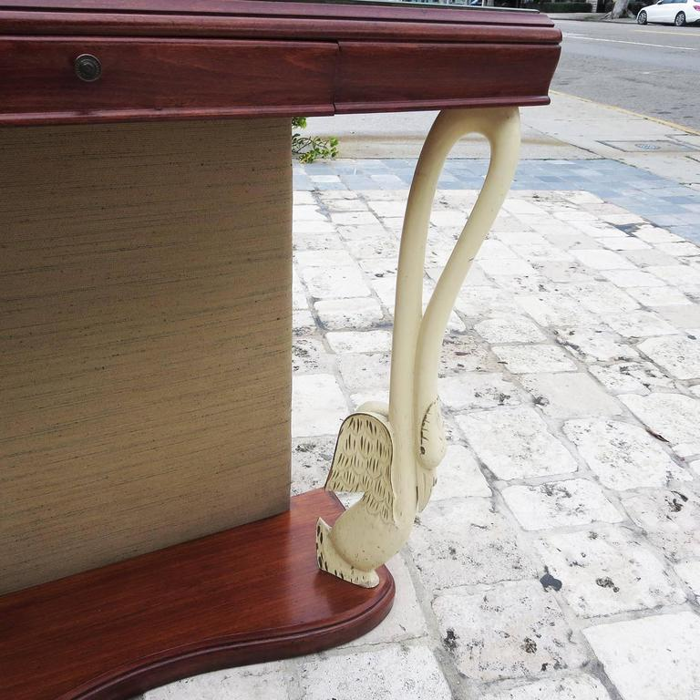 Italian Art Deco Console Table with Carved Painted Swan Legs In Good Condition For Sale In Los Angeles, CA