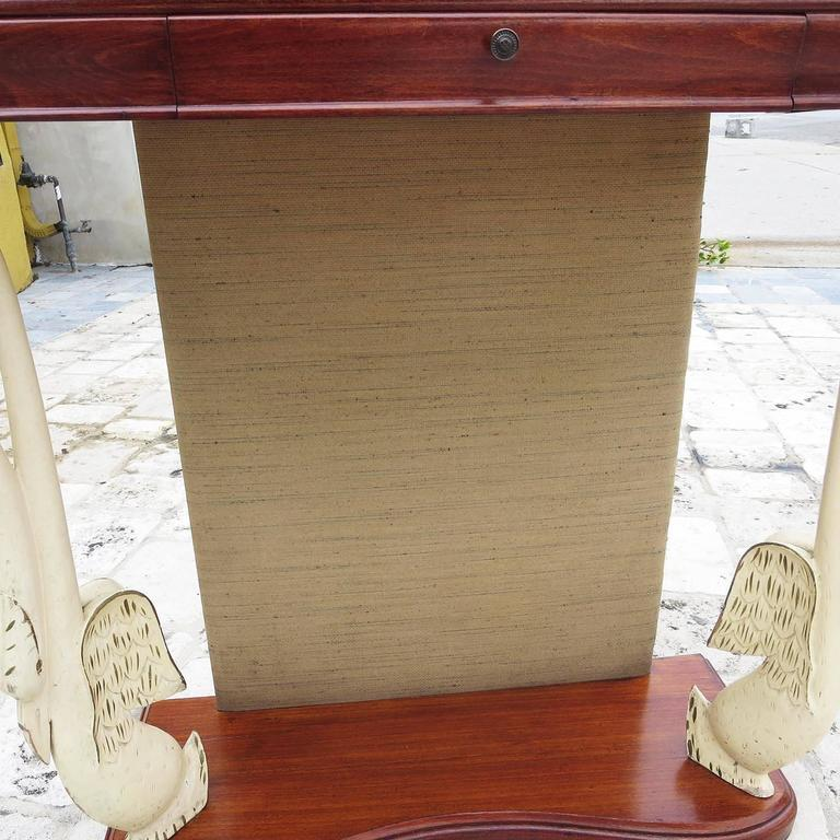 Mid-20th Century Italian Art Deco Console Table with Carved Painted Swan Legs For Sale