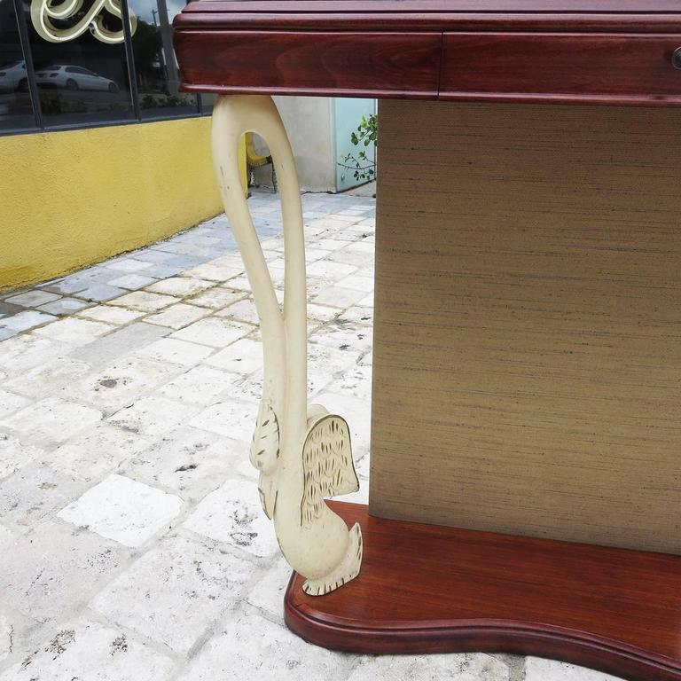 Glass Italian Art Deco Console Table with Carved Painted Swan Legs For Sale