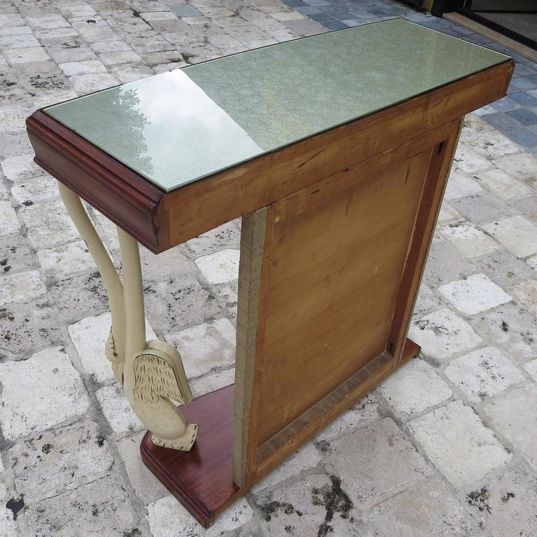 Italian Art Deco Console Table with Carved Painted Swan Legs For Sale 4