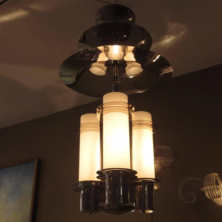 American Art Deco Chandelier in Polished Nickel and Glass For Sale