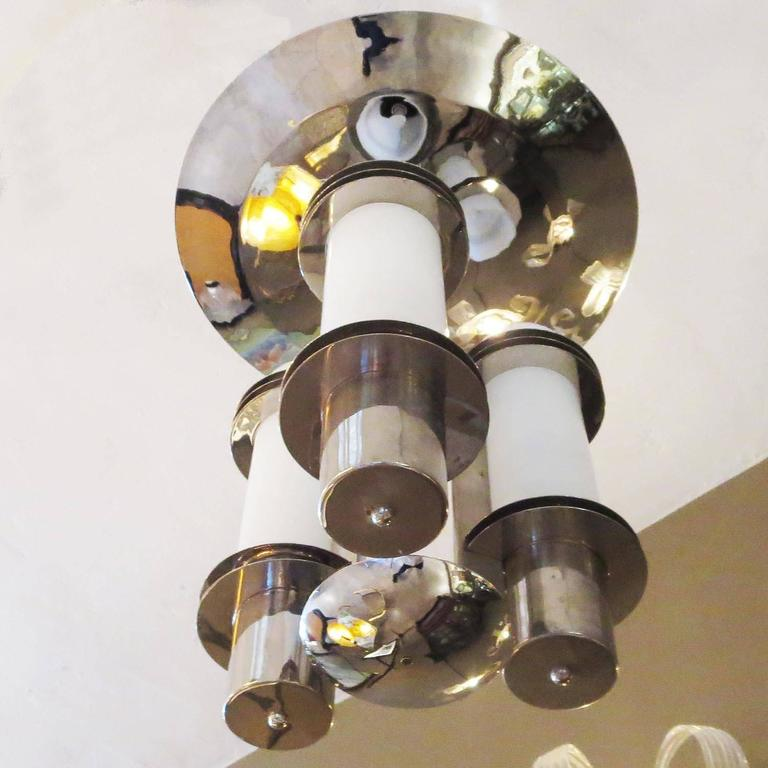 Plated Art Deco Chandelier in Polished Nickel and Glass For Sale