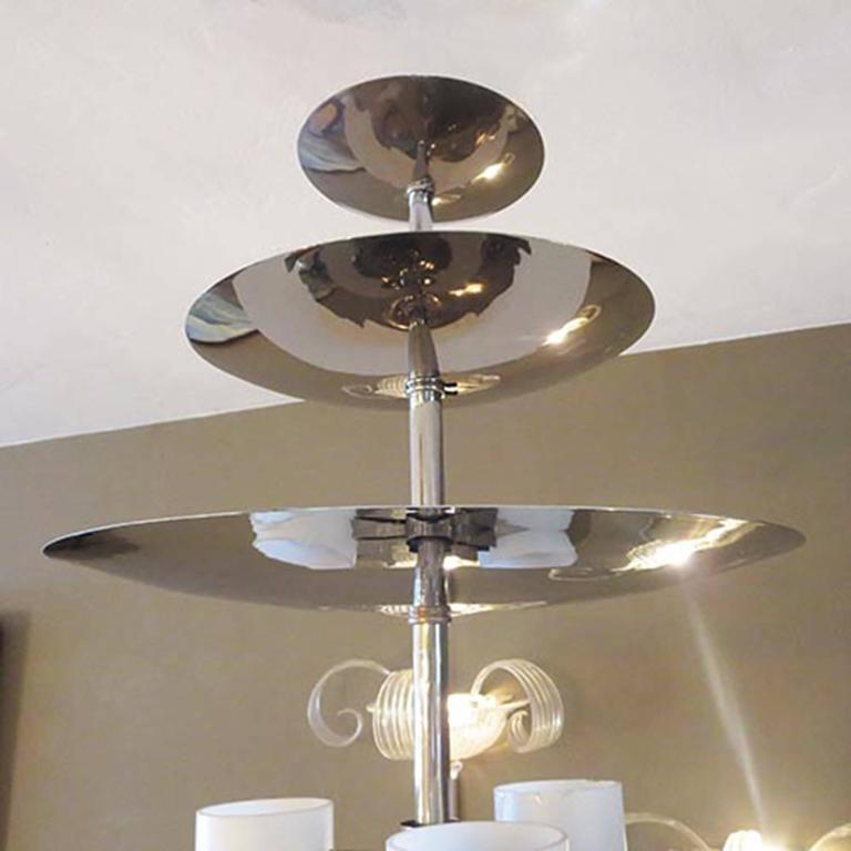 Metal Art Deco Chandelier in Polished Nickel and Glass For Sale