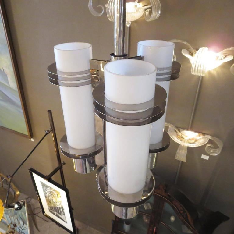 Art Deco Chandelier in Polished Nickel and Glass For Sale 1