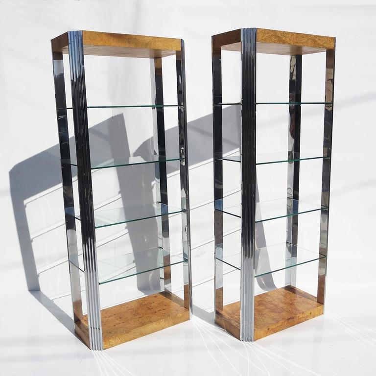 Burled Wood and Polished Aluminum Midcentury Etageres - Two Available 2