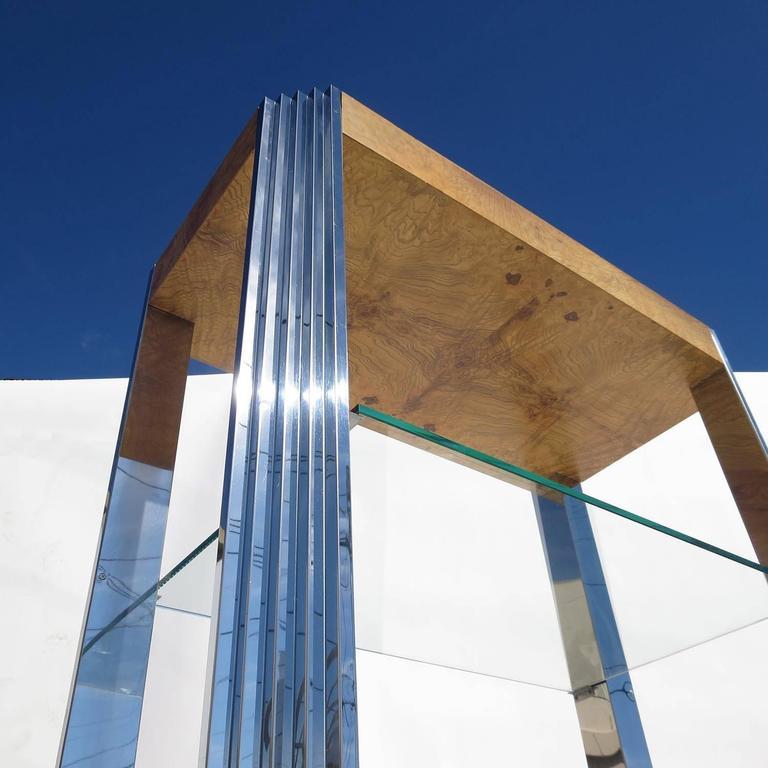 Burled Wood and Polished Aluminum Midcentury Etageres - Two Available 3