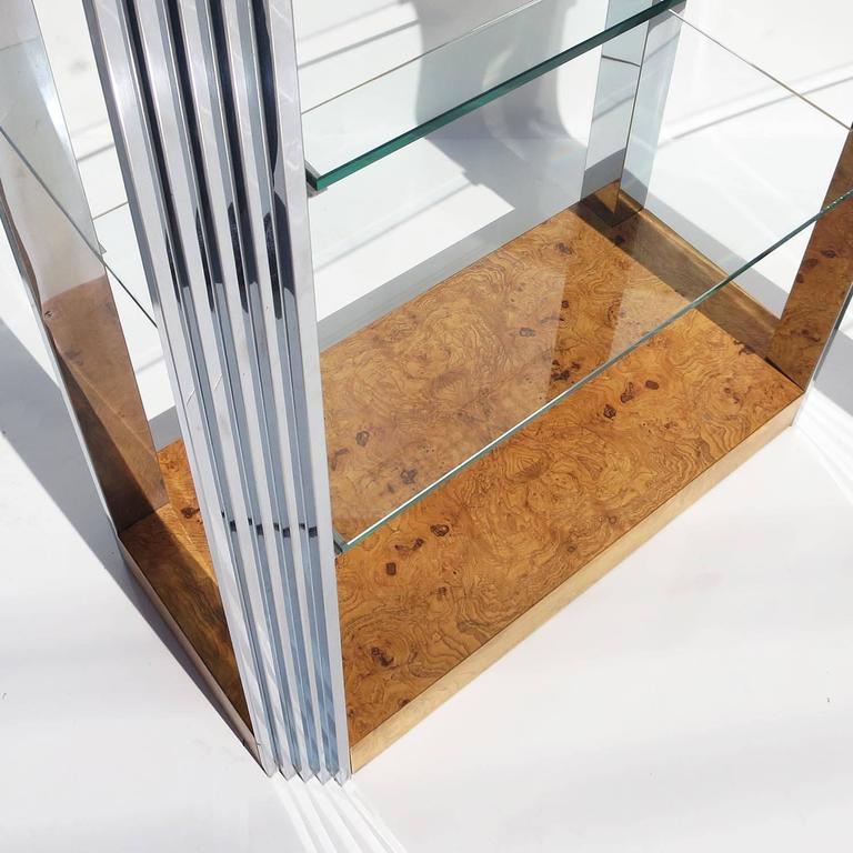 Burled Wood and Polished Aluminum Midcentury Etageres - Two Available 4