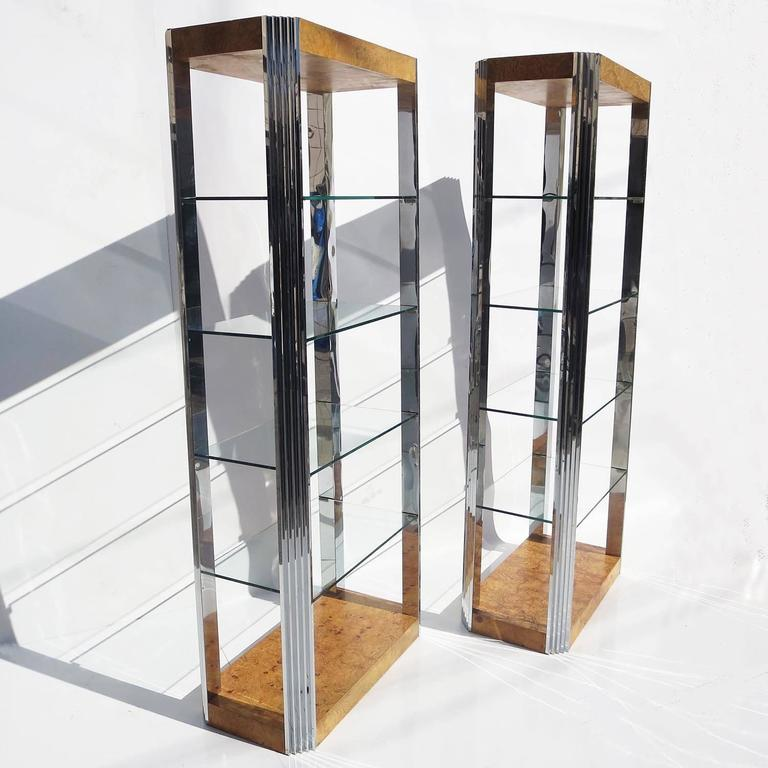 Burled Wood and Polished Aluminum Midcentury Etageres - Two Available In Good Condition For Sale In Los Angeles, CA