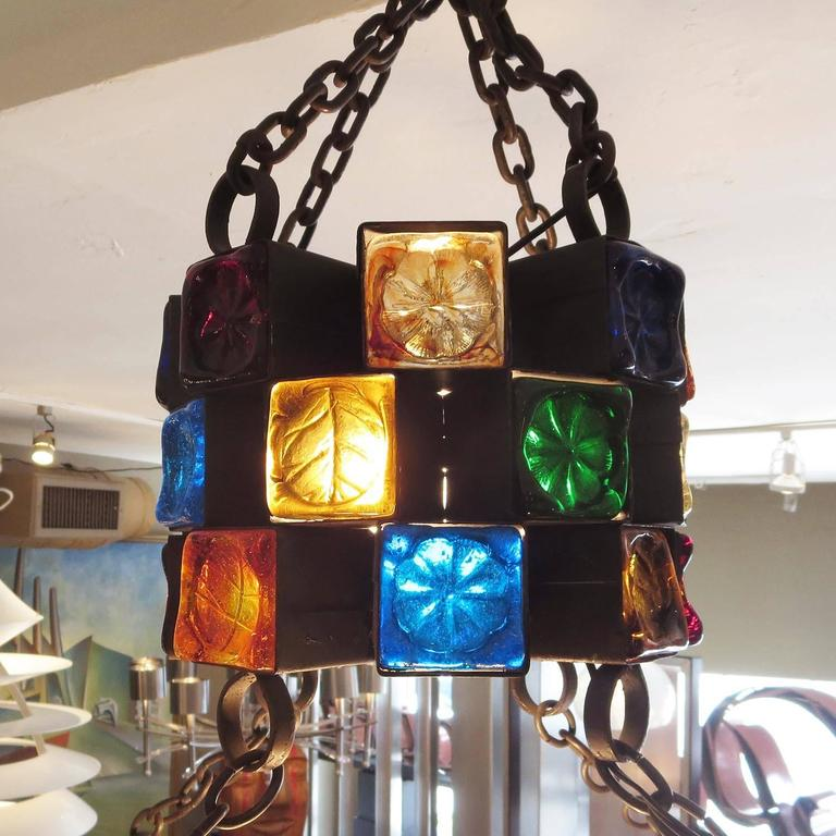 Molded Multi-Colored Glass Brutalist Chandelier by Feder For Sale