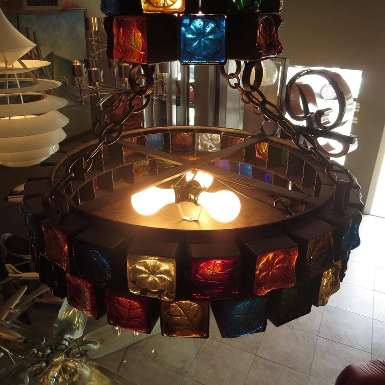 Multi-Colored Glass Brutalist Chandelier by Feder In Good Condition For Sale In Los Angeles, CA