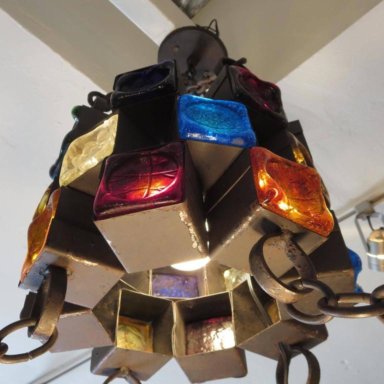 Multi-Colored Glass Brutalist Chandelier by Feder 10