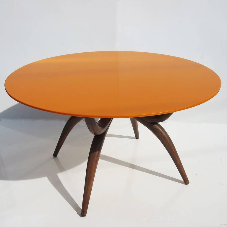 Stylized Mid-Century Game Table with Vitrolite Glass and Felt Playing Top 2