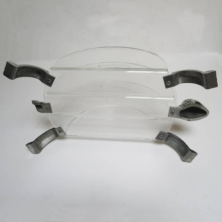 Polished Lucite and Aluminum Turtle Magazine Rack in the Manner of Arthur Court For Sale